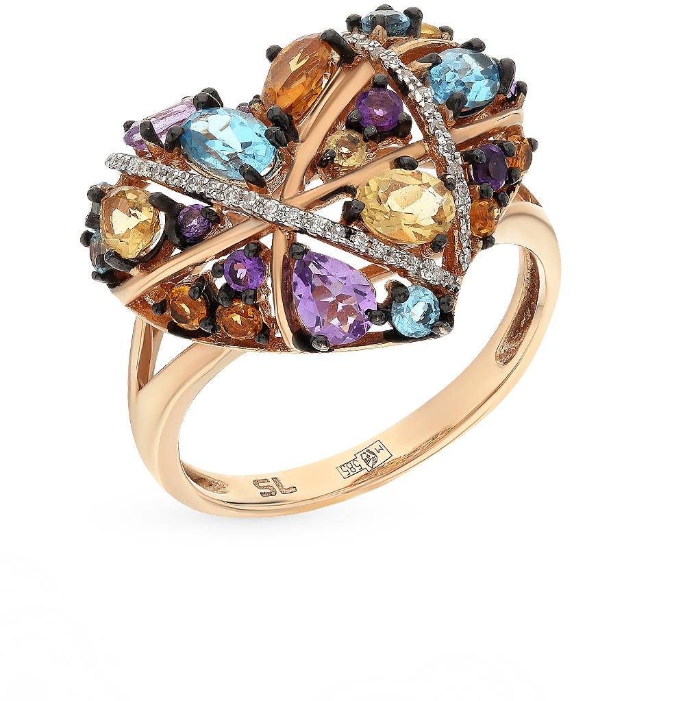 Фото «золотое кольцо с аметистом, цитринами, топазами и бриллиантами»